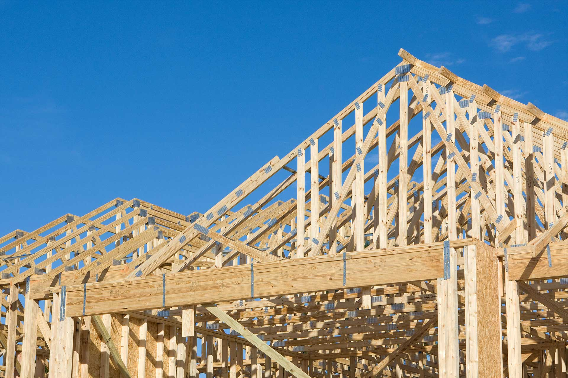 Frame Construction Of A Truss Roof With Hurricane Tie Down