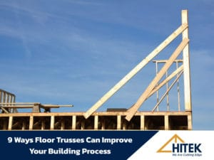 Wooden Floor Truss Being Installed In A New Home Construction