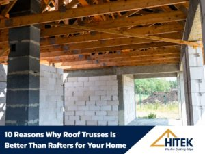 Roof trusses covered with a membrane on a detached house